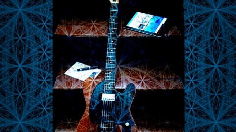 Raul Seixas - O primeiro empreendedor digital - imagem de uma guitarra centralizada sobre a flor da vida