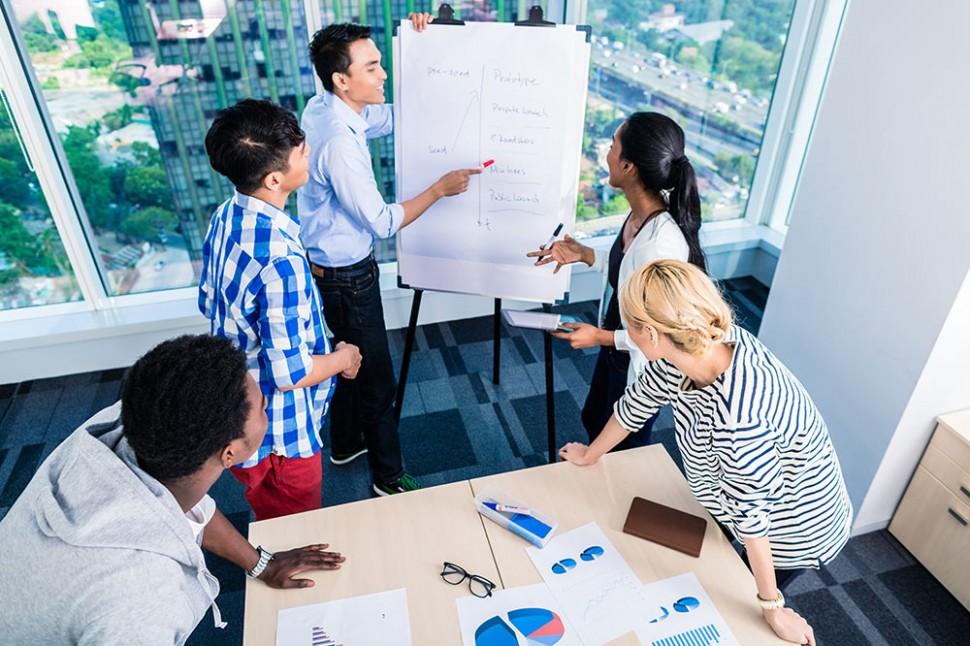 Avaliação de Empresas - Sturttup discutindo sobre um flipchart